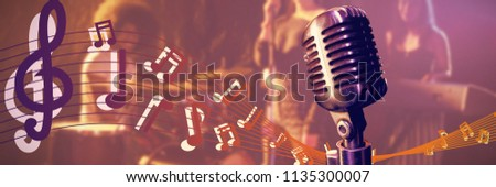 Close-up of microphone  against confident musicians and singer performing on illuminated stage in nightclub #1135300007