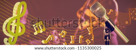 Close-up of microphone  against singer performing with drummer in nightclub #1135300025
