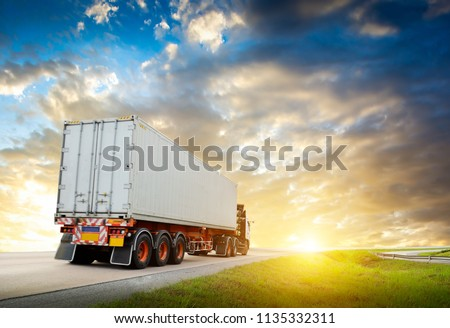 Container transport by truck   #1135332311