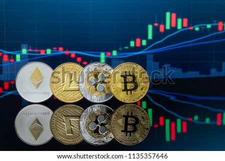 Four cryptocurrency coins set with trading chart in background. Concept of cryptocurrency exchange market. #1135357646