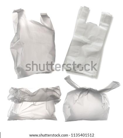 Set of White plastic bag isolated on white background #1135401512