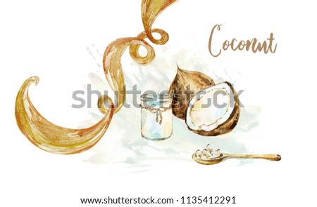 Coconut hair oil and curl of hair watercolor painted isolated on white background. Coconut set for spa salon. #1135412291