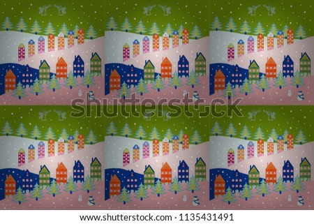 Cute houses and trees on blue, pink, green, neutral and gray colors background. Colorfil landscape for textile, wallpaper, fabric. Raster. Scandinavian style nature illustration. #1135431491