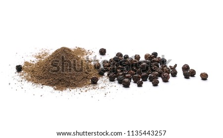 Black ground pepper isolated on white background #1135443257