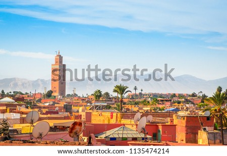 Panoramic view of Marrakech and old medina, Morocco #1135474214