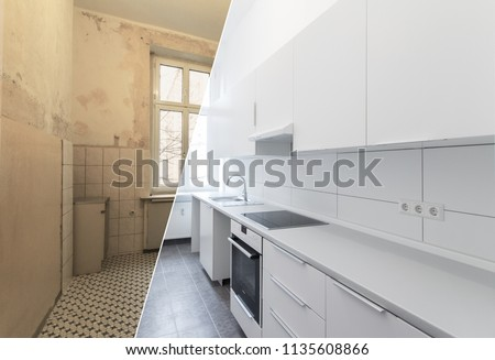 new kitchen before and after renovation - white kitchen #1135608866