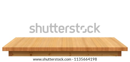 Empty wooden tabletop isolated on white background. For your product placement or montage with focus to the table top in the foreground. Empty pine wooden shelf. shelves #1135664198