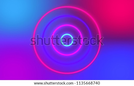 Abstract colorful neon light circles background. #1135668740