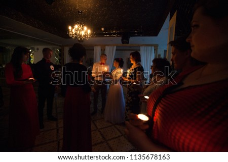 ST PETERSBURG, RUSSIA - JUNE 17, 2016: Wedding Event Day. People Celebrate a Wedding Day at a Banquet in a Restaurant #1135678163