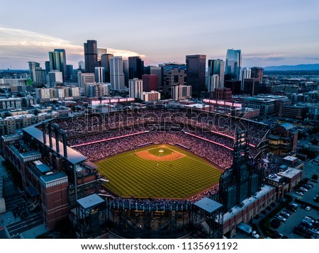 Aerial drone photo - Skyline of Denver Colorado at sunset