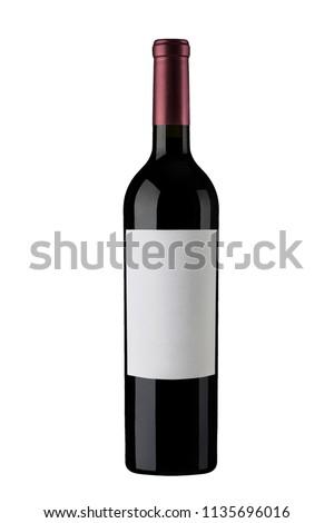 Red Wine Bottle white White Label #1135696016