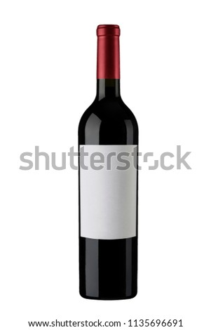 Red Wine Bottle white Label Capsule #1135696691