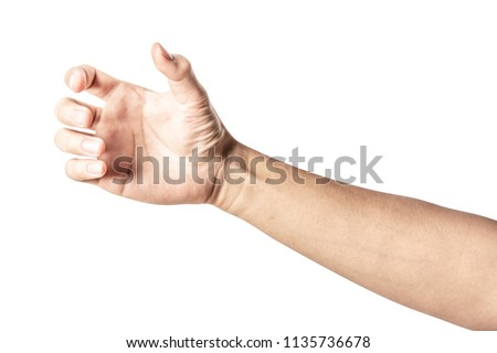 Close up hand holding something like a bottle or can isolated on white background with clipping path. Royalty-Free Stock Photo #1135736678