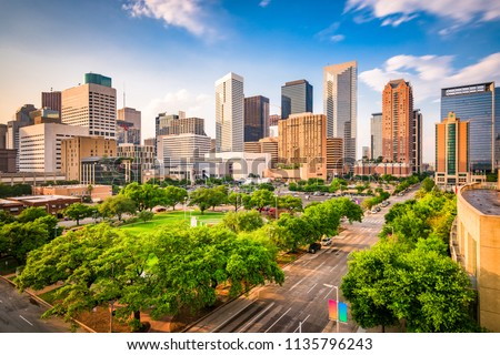 Houston, Texas, USA downtown city skyline over Root Square. Royalty-Free Stock Photo #1135796243