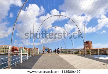 Willemstad, Curacao - 12/17/17: Queen Emma Pontoon Bridge in Curacao;   #1135806497
