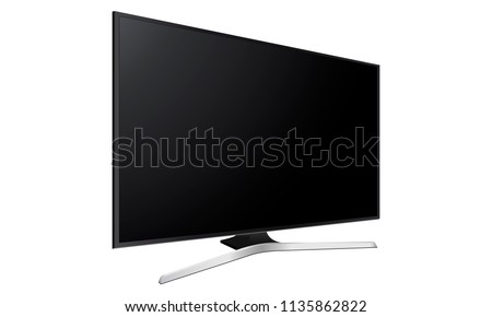 Wide television screen mock up with side perspective view, isolated on white background. Vector illustration #1135862822