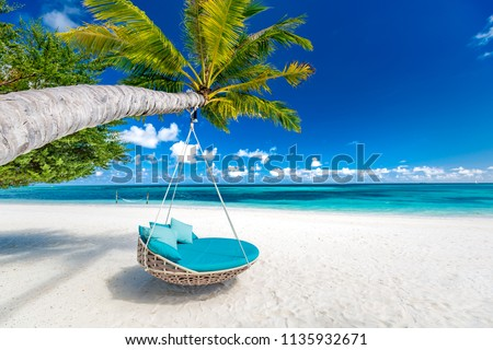 Tropical beach background as summer landscape with beach swing or hammock and white sand and calm sea for beach banner. Perfect beach scene vacation and summer holiday concept. Boost up color process #1135932671