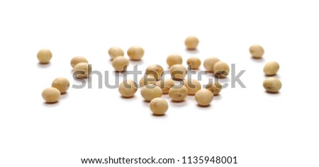 Organic raw soybean flakes, isolated on white background #1135948001