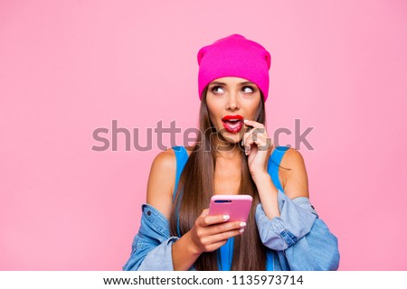 Oops I have bad memory! Close up photo portrait of cute attractive pretty thoughtful minded lady looking up holding finger near mouth using telephone isolated pastel background #1135973714