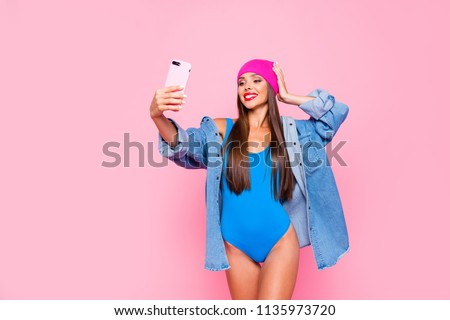Life stream video selfie mania! Studio photo portrait of attractive cheerful fun joy joyful girl making taking self picture posing for camera isolated pastel background copy space