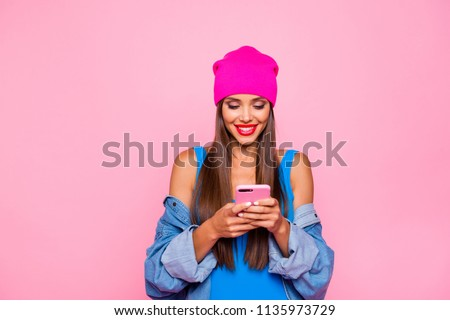 I want like on instagram! Crazy subscriber addicted people person concept. Close up photo portrait of attractive funny cheerful toothy lady using holding cellular in hand isolated bright background