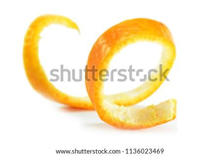Peeled spiral orange skin isolated on white background #1136023469