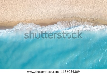 Aerial view at the beach. Beautiful natural seascape at the summer time #1136054309