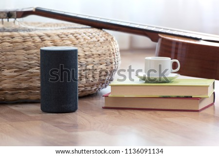 BARCELONA - JULY 2018: Amazon Echo Smart Home Alexa Voice Service in a living room on July 17, 2018 in Barcelona. #1136091134