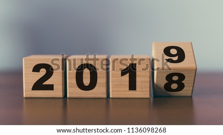 New year 2018 change to 2019 concept #1136098268