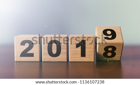 New year 2018 change to 2019 concept #1136107238