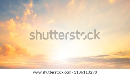 World Environment Day concept:  Orange And Yellow Colors Sunset #1136113298
