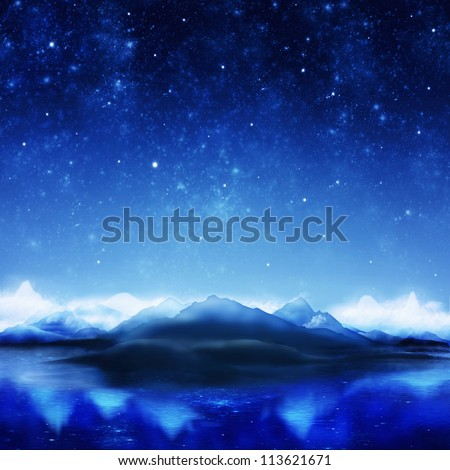 dramatic landscape in night time #113621671