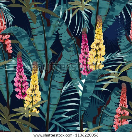 Tropic summer painting seamless vector pattern with palm banana leaf and plants. Floral jungle lupines paradise flowers. Trendy bunch exotic  wallpaper on dark blue background. Vintage colors. #1136220056