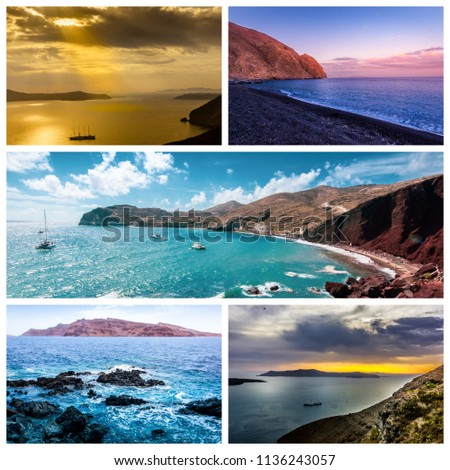 A collage of beautiful summer beaches in and around Santorini island, Greece.