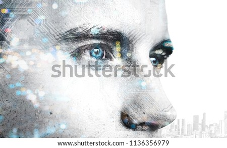 Digital transformation disruption every industry technology , artificial intelligence concept. Double exposure of male face customer and circuit board. #1136356979