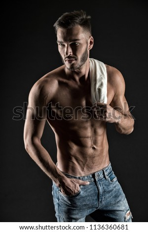 Strong man. Man with strong torso. Strong and muscular. Strong and healthy. Always in shape. #1136360681