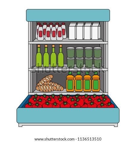 supermarket shelving with products #1136513510