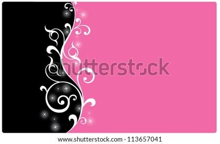 Abstract swirly modern design in pink and black colors