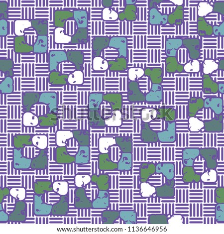 Seamless editable pattern consisting of four varicoloured cobblestones are stacked in the form of a square. On the background small squares consisting of vertical and horizontal strips. #1136646956