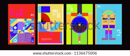 Abstract colorful collage poster design template. Cool geometric and fluid cover design. Blue, yellow, red, orange, pink and green. Vector banner poster template in Eps10.  #1136675006