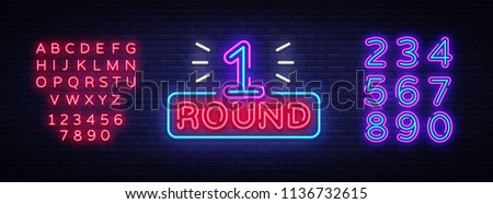 First Round is a neon sign vector. Boxing Round 1 bout, neon symbol design element Illustration neon bright, light banner. Vector Illustration. Editing text neon sign Royalty-Free Stock Photo #1136732615
