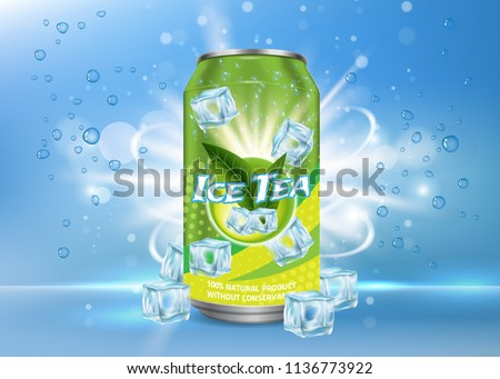 Vector realistic illustration of aluminium can with ice tea label and ice cubes, bubbles around it. Green ice tea aluminum can package mock up. Ice tea drink poster, banner, flyer design template. Royalty-Free Stock Photo #1136773922