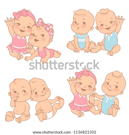set with cute little twin babies. Baby shower illustration. Twin girls and boys. Different pairs of siblings. Sister and brother sitting waving hands. Vector color  illustration.