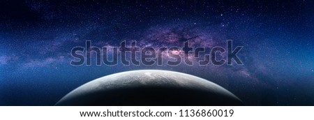 Landscape with Milky way galaxy. Earth view from space with Milky way galaxy. (Elements of this image furnished by NASA) #1136860019