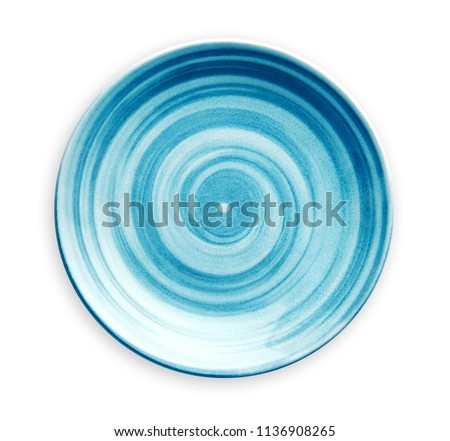Empty blue ceramic plate with spiral pattern in watercolor styles, View from above isolated on white background with clipping path           #1136908265