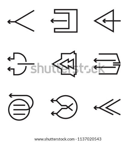 Set Of 9 simple editable icons such as Left arrow, pixel perfect vector icon pack #1137020543