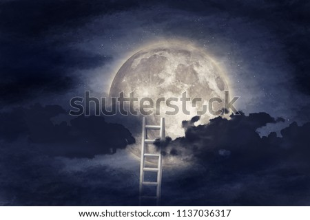 Conceptual image with ladder leading to moon and clouds background. Elements of this image furnished by NASA