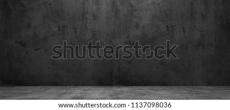 Blank concrete wide dark wall texture background #1137098036