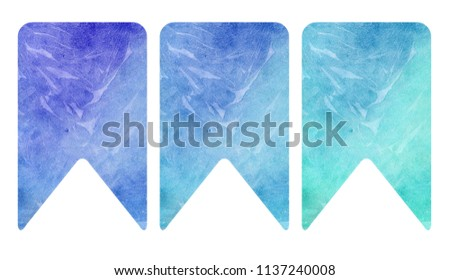Printable bookmarks with beautiful watercolor stains. Ready to use. Isolated on white. #1137240008
