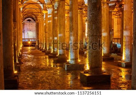 Underground Basilica Cistern Yerebatan Sarnici in Istanbul, Turkey. Cistern in Istanbul underground. Basilica showplace in Istanbul. Place underground in Istanbul Basilica. #1137256151